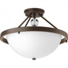 Progress P3614-20 - Two Light Antique Bronze Etched/painted White Inside Glass Bowl Semi-Flush Mount